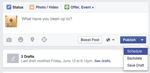 scheduling a facebook post